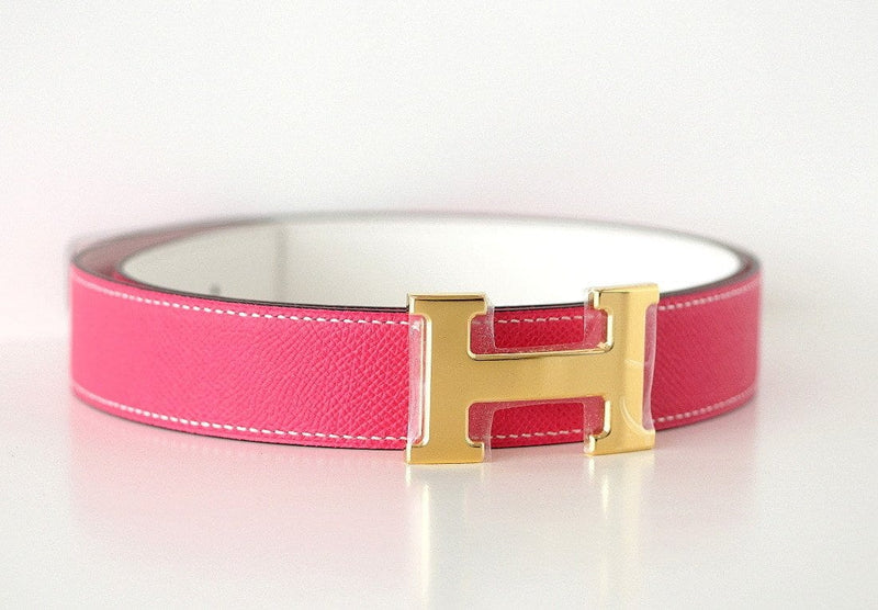 Hermes Constance Belt 32mm Rose Tyrien / White Reversible Gold Buckle 95 - mightychic