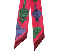 Hermes Twilly Merveilleuses Lanternes Silk Scarf Set of 2 Fuschia - mightychic