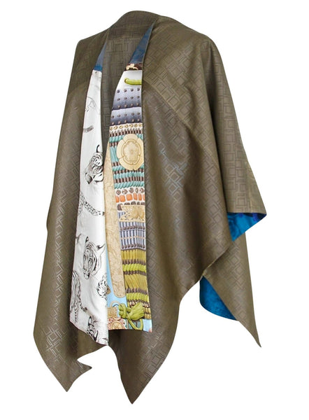 Hermes Petit H Shawl One Off Perforated Leather Reverses Various Scarf Prints