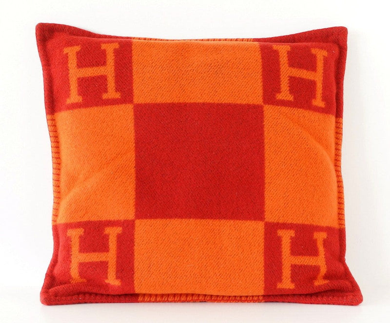 Hermes Pillow GM Avalon Limited Edition Orange and Red Signature Classic H Motif - mightychic