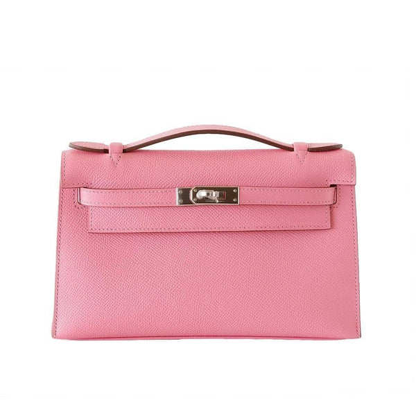Hermes Kelly Pochette Clutch Bag Rose Confetti Pink Epsom Palladium - mightychic