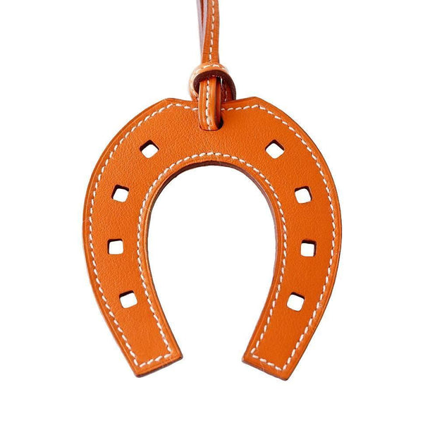Hermes Bag Charm Paddock Horseshoe Rare Orange Leather new