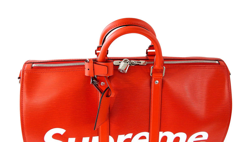 Louis Vuitton X Supreme Red Epi Keepall Bandouliere Duffle Bag 45 - mightychic