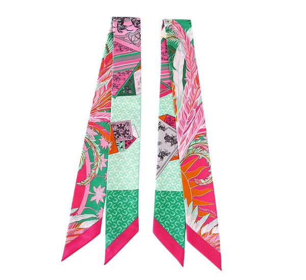 Hermes Twilly Cheval Phoenix Pink Multi Colour Set of 2 Glorious Summer