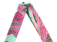 Hermes Twilly Cheval Phoenix Pink Multi Colour Set of 2 Glorious Summer - mightychic