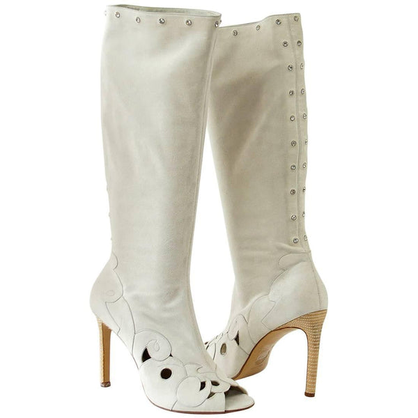 Versace Boot Pale Gray Soft Suede Swarovksi Diamantes Peeptoe 40 /10