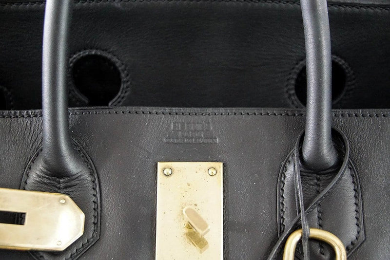 Hermes Birkin 50 Bag HAC Men's Black Vache Noir Leather Brass Hardware - mightychic