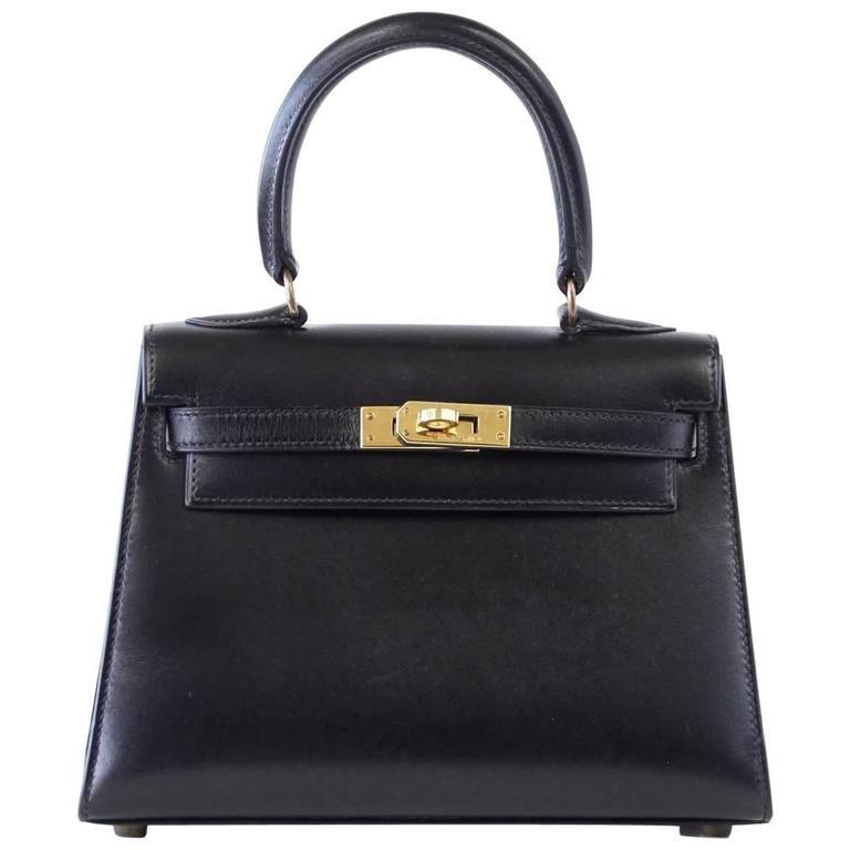 Hermes Kelly 20 Bag Mini Vintage Kelly Sellier Box Leather Gold Hardware - mightychic