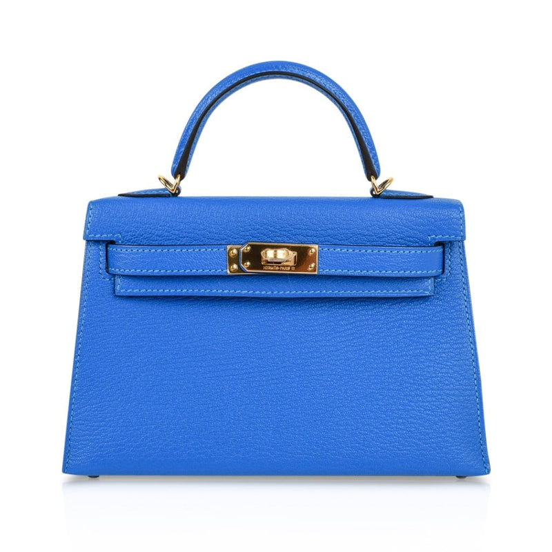 Hermes Kelly 20 Bag Sellier Blue Hydra Chevre Leather Gold Hardware - mightychic