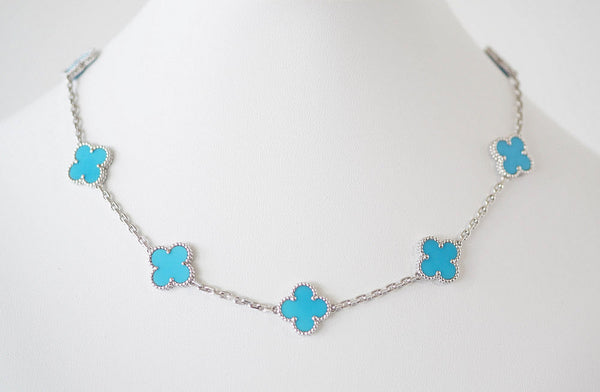 Van Cleef & Arpels Necklace Turquoise Vintage Alhambra 10 Motif 18K White Gold - mightychic