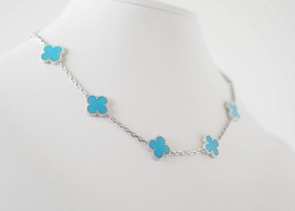 17311755043 ... Van Cleef & Arpels Necklace Turquoise Vintage Alhambra 10 Motif 18K  White Gold - mightychic ...