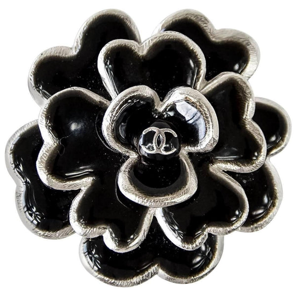 CHANEL 03C Pin Brooch Camellia Black Enamel Edged Silver