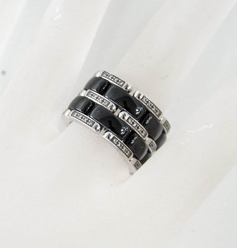 CHANEL Ring Ultra Wide 18K White Gold Diamonds and Ceramic Size 7 - mightychic