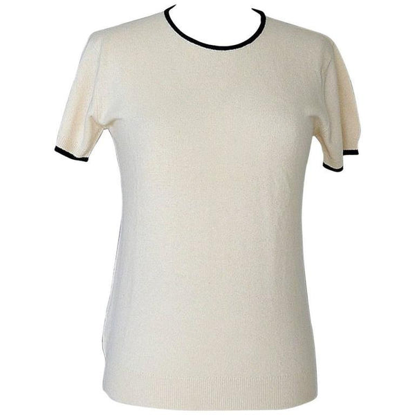 Chanel 97A Top Cashmere Short Sleeve Rear CC  42 / 8