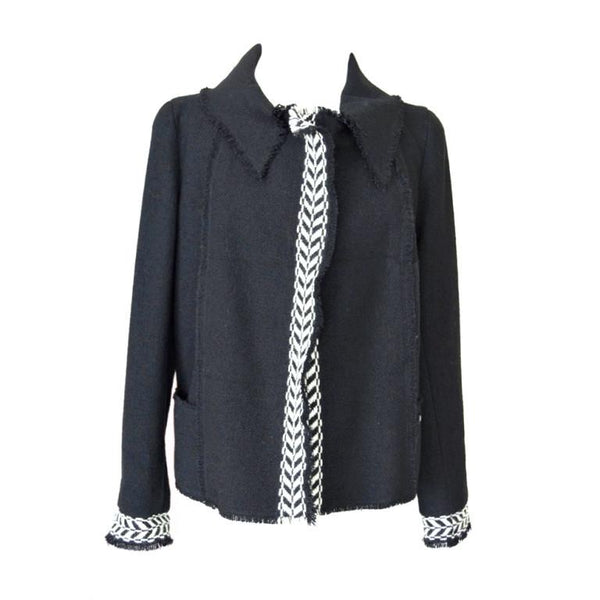 Chanel 04A Jacket Trim in Black and White Chevron 46 /  fits 8 to 10 - mightychic