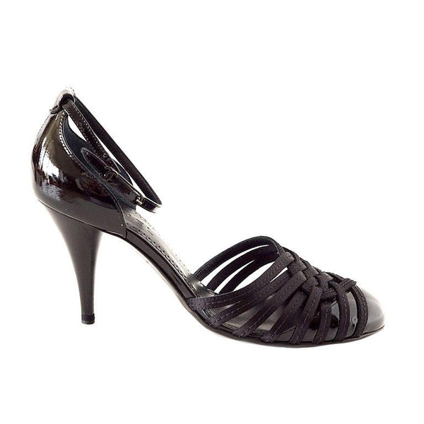 Chanel Shoe Black Patent Leather Satin Ankle Strap  38.5 / 8.5 - mightychic