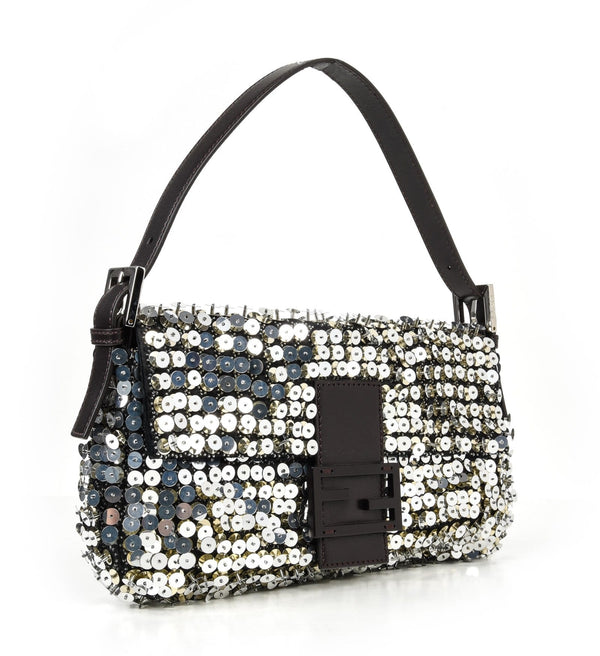 Fendi Bag Baguette Raised Silver Metallic Sequined and Beaded - mightychic