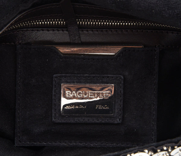 efa9bd1e6fcf Fendi Bag Baguette Raised Silver Metallic Sequined and Beaded - mightychic  ...
