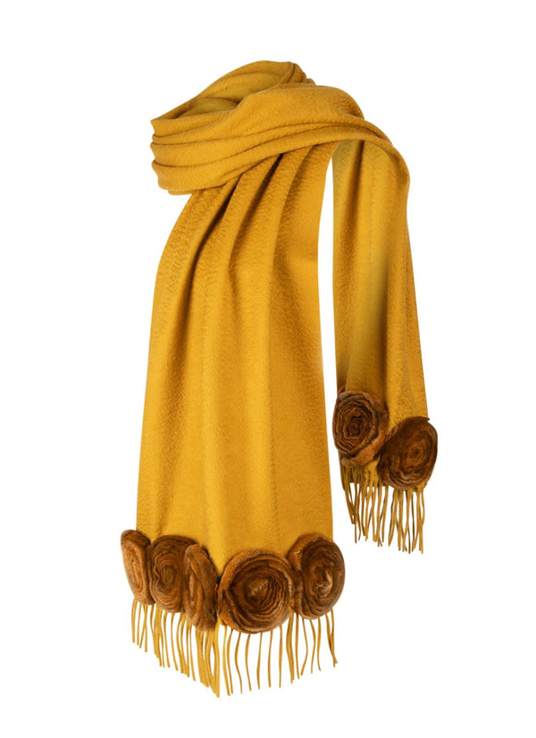 Fendi Scarf Rare Mink Roses Cashmere Collectors Piece - mightychic