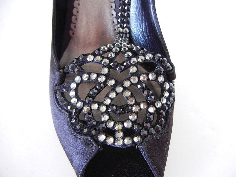 Giorgio Armani Shoe Jeweled Satin T-Strap Deco Diamante 38 / 8 - mightychic