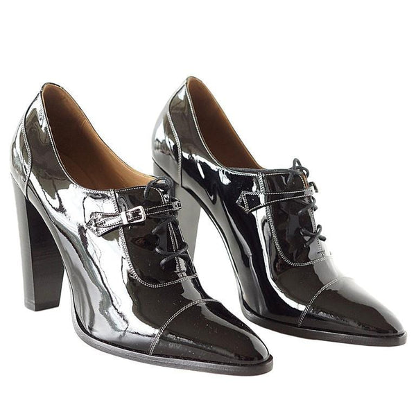 Hermes Shoe Lace Up Oxford Pump Hardware Details 38.5 / 8.5
