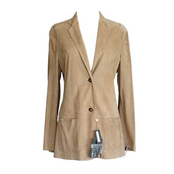 LORO PIANA Jacket Perforated Lamb Suede SO CHIC nwt 46