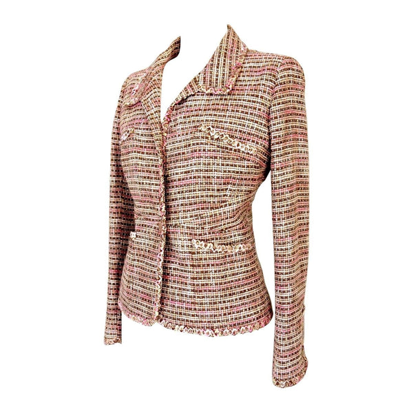 Chanel 03P Jacket Neutral Soft Dusty Pink Tweed 46 / 10 to 12