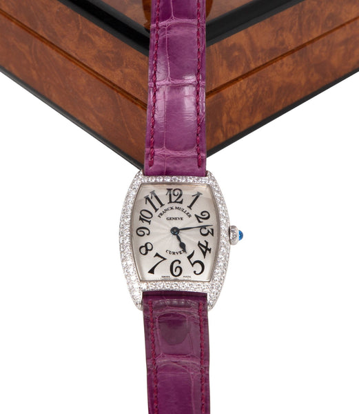 Franck Muller Watch Ladies 18k Cintree Curvex Diamond Crocodile Strap Box Papers - mightychic