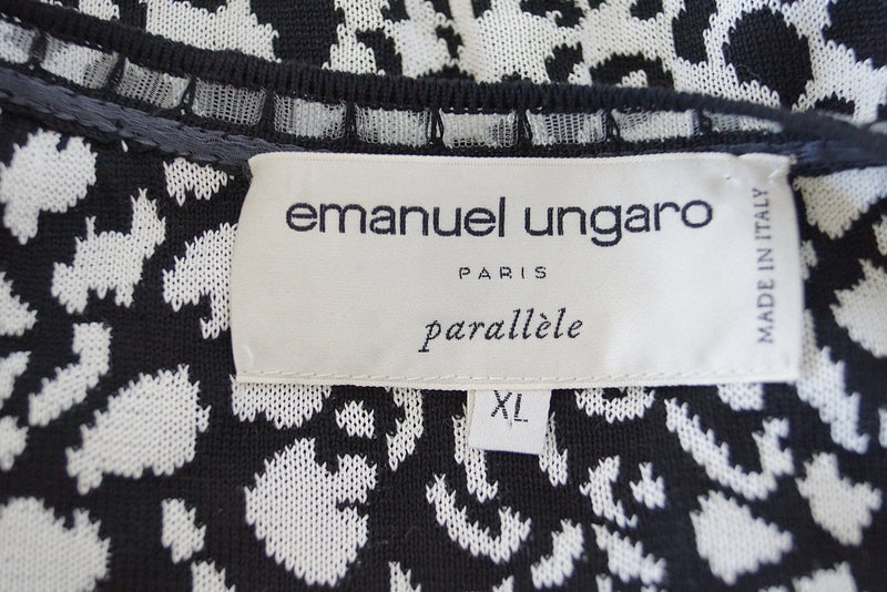 Emanuel Ungaro Twinset Animal Print Black and White Lovely Buttons XL - mightychic