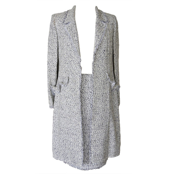 Red Valentino Skirt Suit Fine Black White Tweed Long Jacket  8