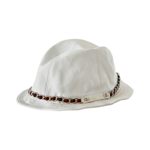 Gucci Hat White Leather Chain Detail Bucket Style M Runs Small Divine