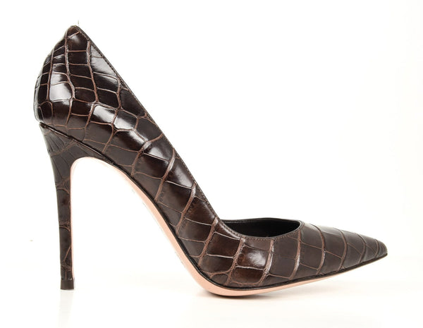 Gianvito Rossi Gianvito Shoe Alligator Pump Chocolate Brown 40 / 10 New - mightychic
