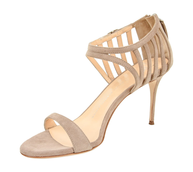 Giuseppe Zanotti Shoe Cage Detail Suede Camel Open Toe 39 / 9 New - mightychic