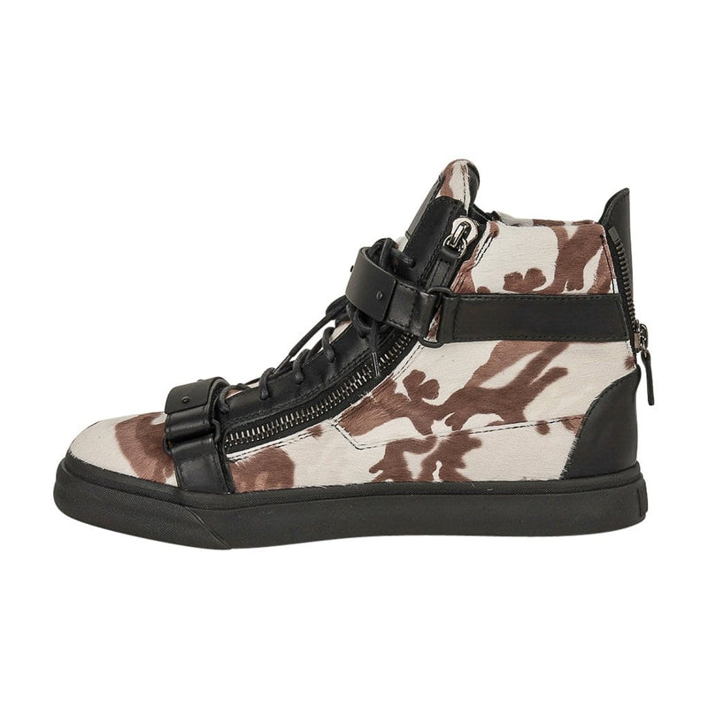 Giuseppe Zanotti Men's Camo Calf Hair Sneaker Black Leather 44 / 11