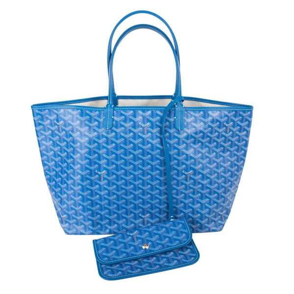 Goyard Saint Louis PM Chevron Blue Print Canvas Tote Bag
