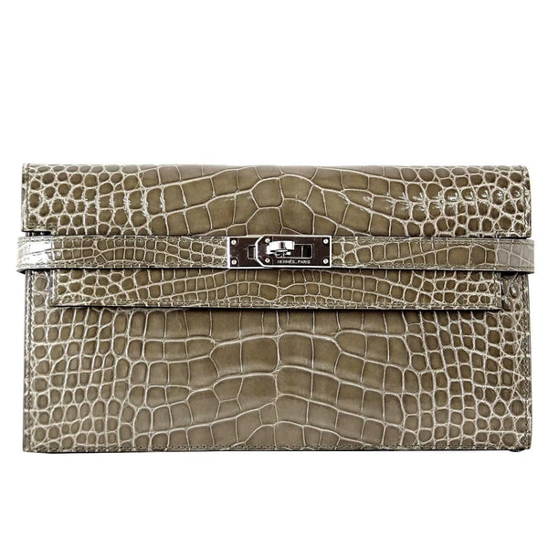 Hermes Kelly Long Wallet Coveted Gris Tourterelle Alligator