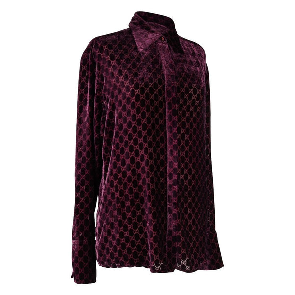 Gucci Top Burgundy GG Monogram Burnout Velvet Blouse 44 / 10