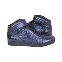 Gucci Men's Shoe Midnight Blue Nappa Silk Leather High Top Sneaker 9.5