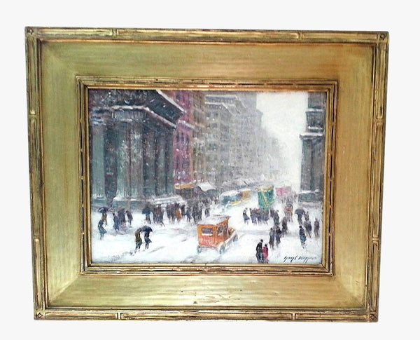 Guy C Wiggins Signed Early American 1883 - 1962  Fifth Avenue in the Snow Painting