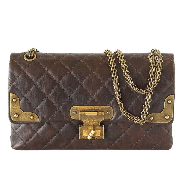 CHANEL Bag Medium Double Flap Brown Distressed Leather Antique Brass