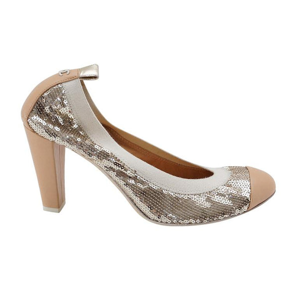 809317fcf848 Chanel Shoe Silver Sequin Signature Beige Leather Round Toe Heel Pump 38   8