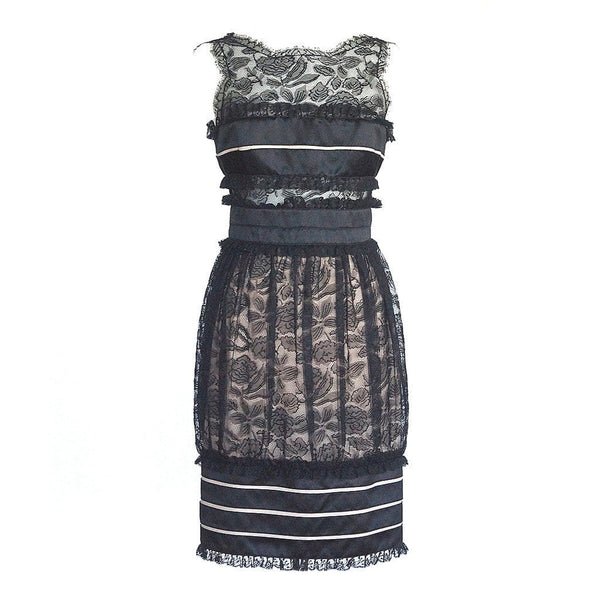 Chanel Dress Black Lace Satin Formal / Cocktail Beautifully Detailed 8 - mightychic