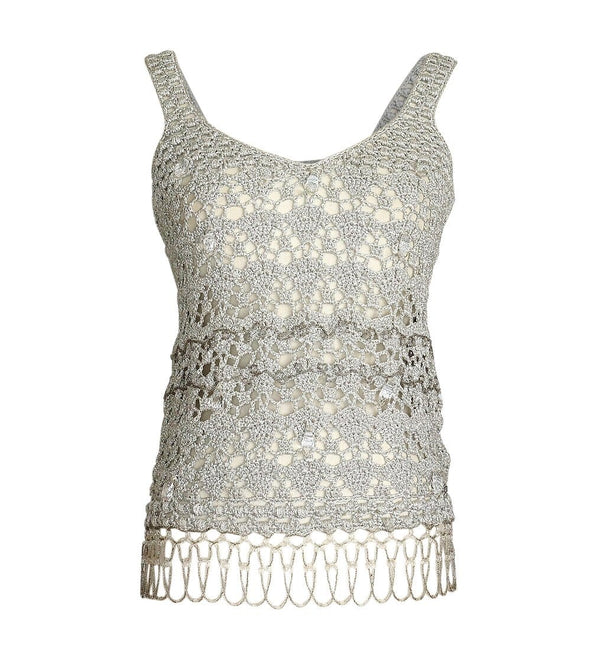 John  Galliano Top Silver Crochet Faceted large Crystals Beading detail M - mightychic
