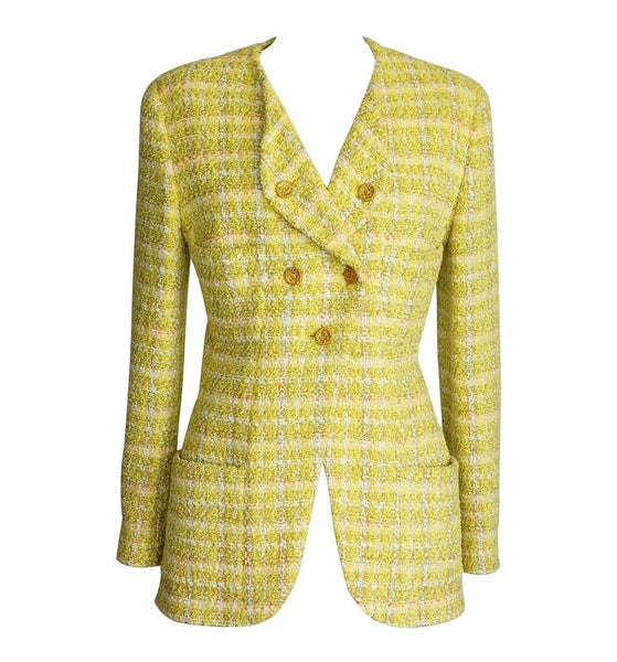 Chanel Jacket Yellow Fantasy Tweed Gold  CC Buttons Vintage Fits 8