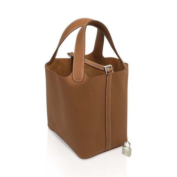 d0d9f0fe07ef ... Hermes Picotin Lock 18 Bag Gold Clemence Tote Palladium Hardware -  mightychic ...