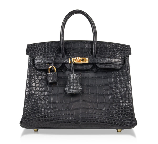 Hermes Birkin 25 Bag Matte Alligator Black Exotic Gold Hardware - mightychic