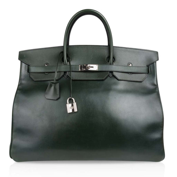 Hermes Birkin 50 Bag Travel Tote Dark Green Palladium Very Rare Not a Hac