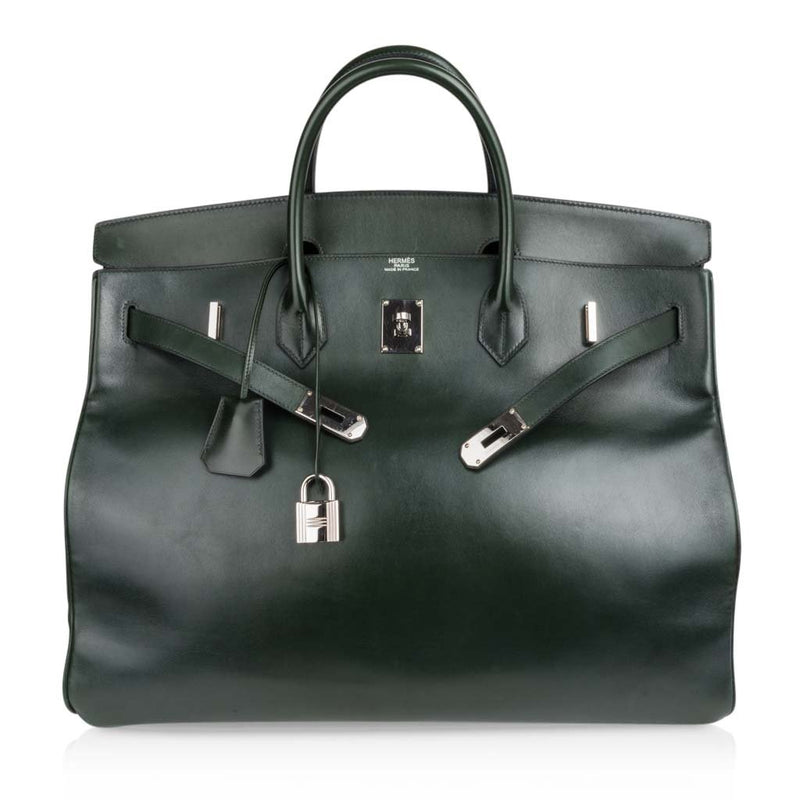 Hermes Birkin 50 Bag Travel Tote Dark Green Palladium Very Rare Not a Hac - mightychic