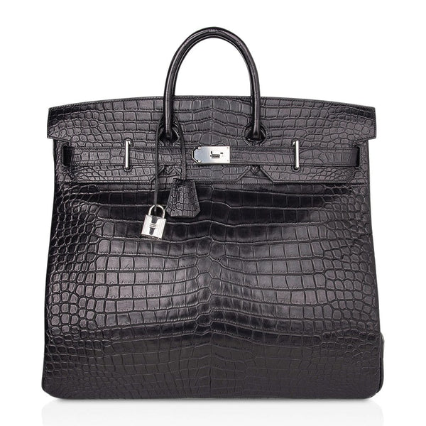 Hermes Hac 50 Travel Bag Black Matte Porosus Crocodile Palladium New w/ Box
