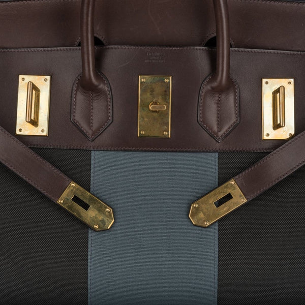 9d8664dc140 ... Hermes Hac 50 Flag Toile Ebene Evercalf Leather Brass Hardware -  mightychic ...